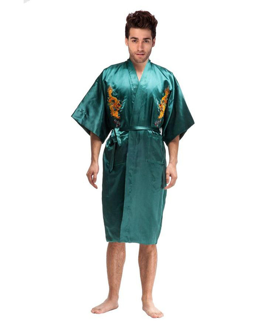 Novelty Green Chinese Men Silk Satin Robe Kimono Yukata Gown Embroidery Dragon Nightgown Pajamas Size S M L XL XXL XXXL MR020