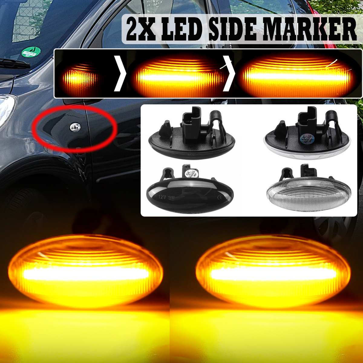 Side-Marker Led-Turn-Signal-Light Dynamic Led 206 Sequential Blinker 407 207 Flowing title=
