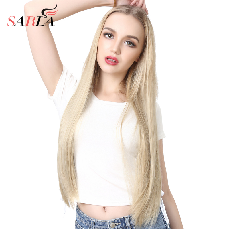 SARLA 28'' 70cm Long Straight Blonde U Part Half Wig For Black White Women Synthetic Wigs Thick Ombre Hair Extension Clips UW02