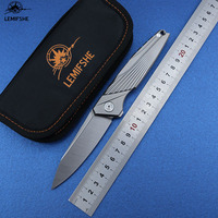 LEMIFSHE L98 M390 Blade Pocket Folding Knife Titanium Alloy Handle Ceramic Ball Bearing Flipper Knives EDC Camping Fishing Knife