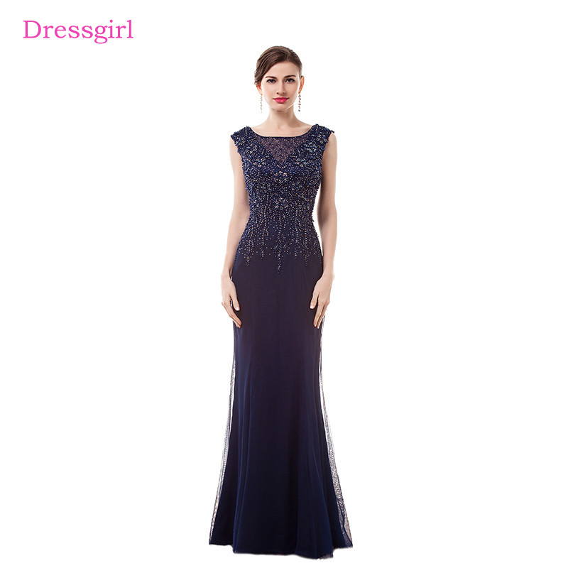 Navy Blue Evening Dresses 2019 Mermaid Cap Sleeves Tulle Beaded Crystals  Elegant Long Evening Gown Prom Dress Robe De Soiree-in Evening Dresses from  ... e50544da138e