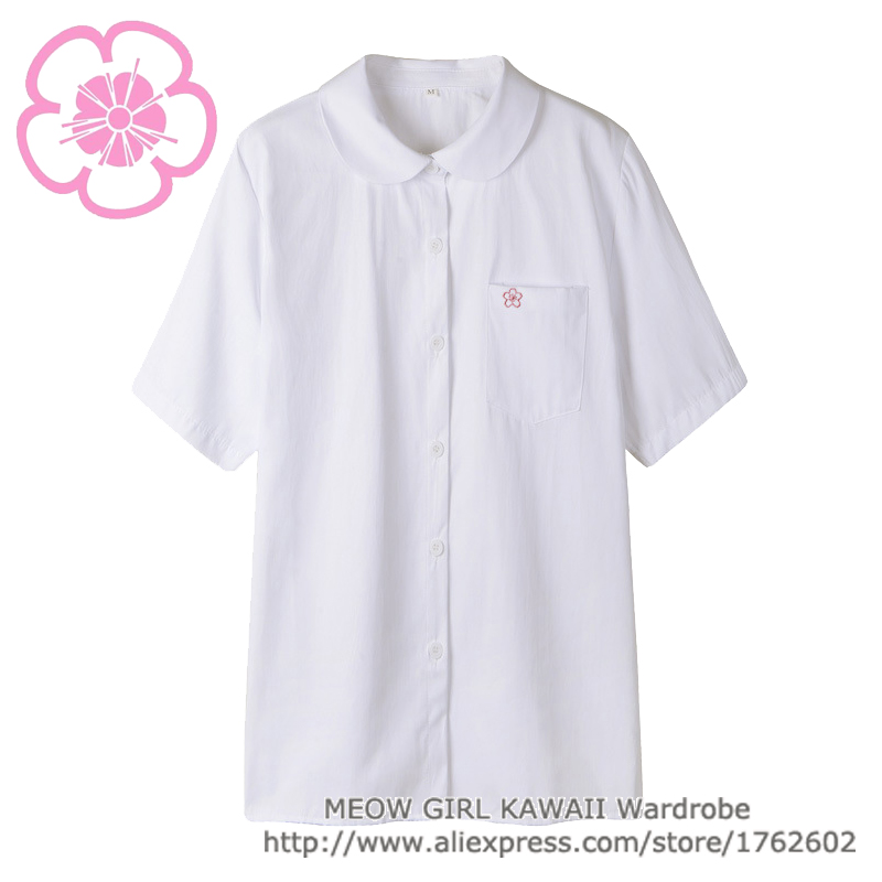 Cute Japanese School Uniform Style Girls French Toast JK Blouse Sakura Embroidery Peter Pan Collar Uniform Shirt Tops 2 Colors
