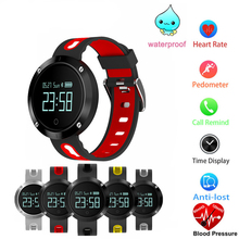 Bluetooth Smart Android смотреть группы светодиодный Экран спортивные сердечного ритма Смарт часы Приборы для измерения артериального давления Мониторы IP68 Водонепроницаемый сердечного ритма