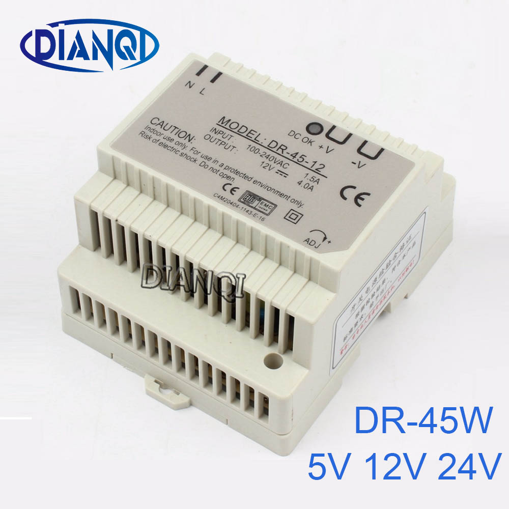 DIANQI 12V Din rail Single output Switching power supply 45w 5V suply 24v ac dc converter for LED Strip other dr-45 DR-45 201w led switching power supply 85 265ac input 40a 16 5a 8 3a 4 2a for led strip light power suply 5v 12v output