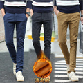 Casual winter plaid pants man straight thick fleece mens pants cotton fashion business trousers for men