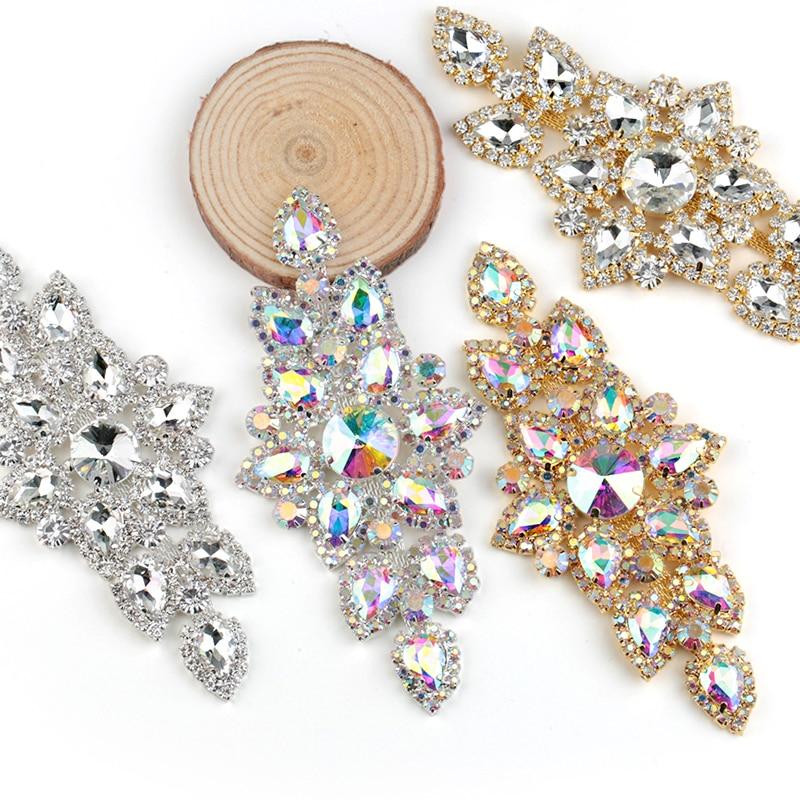 QIAO 6.3x13.5cm Sömnad På Rhinestone Applique 1 st Silver Base Clear Crystal Rhinestones DIY Bröllopsklänning