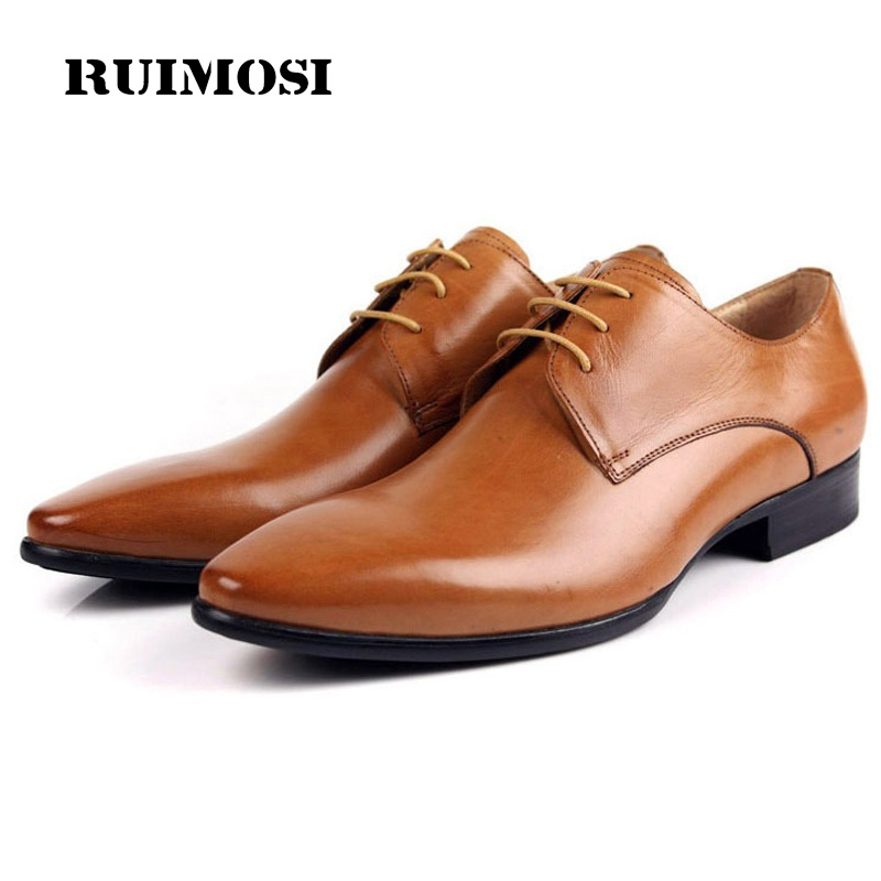 RUIMOSI Luxury Brand Pointed Man Wedding Dress Shoes Genuine Leather Male Oxfords Italian Designer Men's Derby Bridal Flats HD85 fashion top brand italian designer mens wedding shoes men polish patent leather luxury dress shoes man flats for business 2016