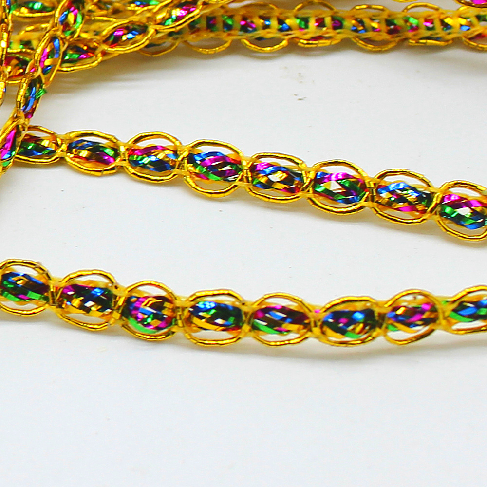 Arts,crafts & Sewing Forceful Rainbow Lace Ribbons Gold Appliqued Lace Trims 25 Yds Gold And Silver Cosplay Crochet Colored Lace Braid Wholesale 0.6cm We Take Customers As Our Gods