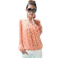 Women Clothing Spring Summer Fashion Tops Polka Dot Chiffon Blouses Loose Plus Size S XXXXXL Long