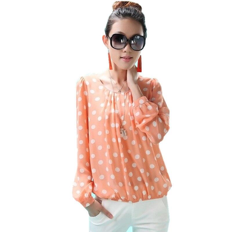 7d473344ea30e Women Shirts Blouses Spring Summer Fashion Tops Loose Long Sleeve Shirt  Brand Clothing Plus Size Polka Dot Chiffon Blouse