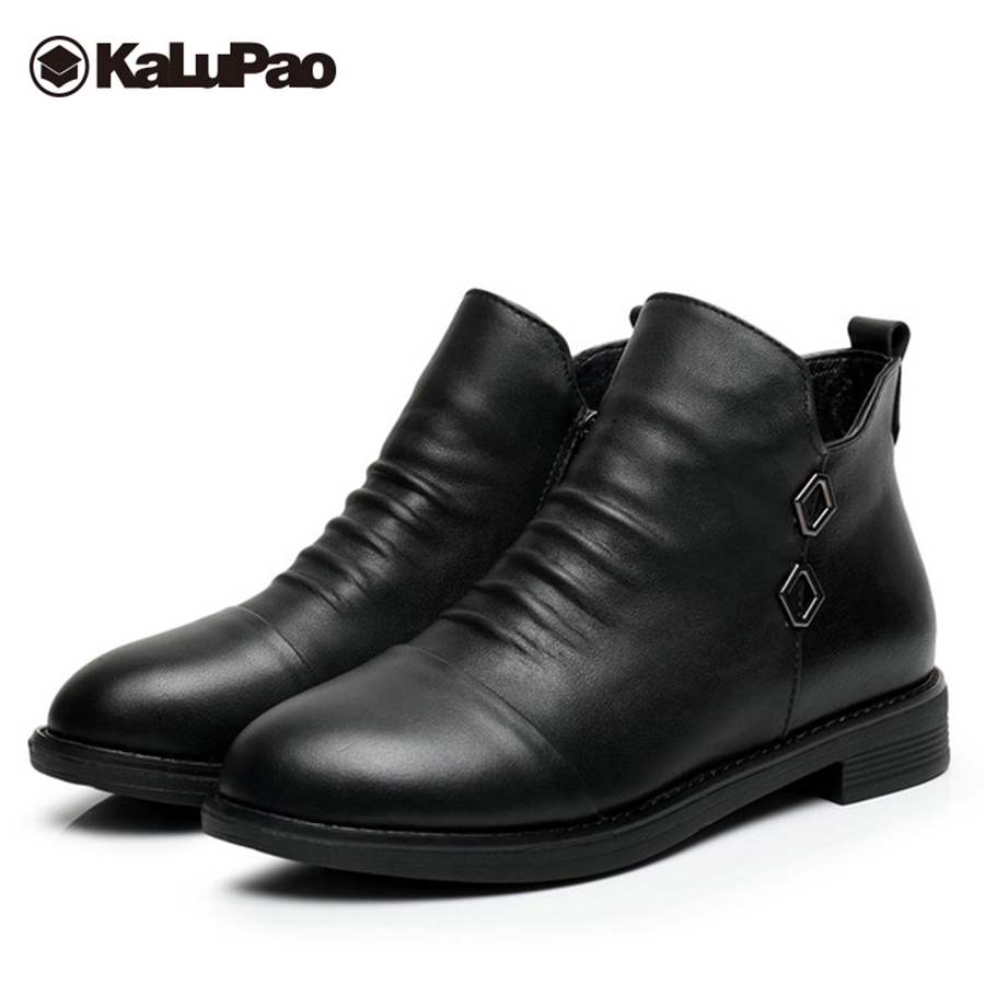 Kalupao genuine leather snow boots women cow leather upper anti slip sole ankle boots for women winter boots women with fur стоимость
