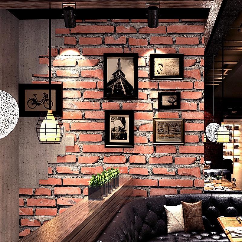 Vintage 3D Faux Brick Wallpaper Roll PVC Waterproof Red Brick Wall Vinyl Wall Paper Home Decor Living Room Papel De Parede 3D
