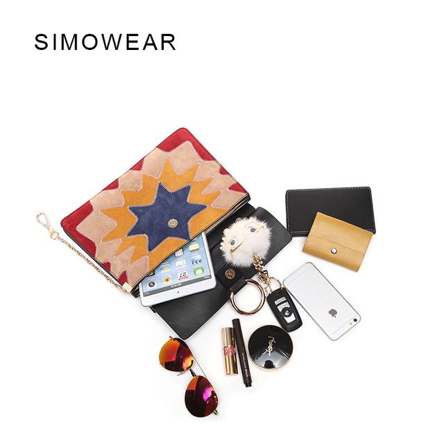 SIMOWEAR 2017 Brand Design Women Genuine Leather Cloe Bag Real Cowskin Chain Organ Bag Rivet Handbag Color Matching Shoulder Bag