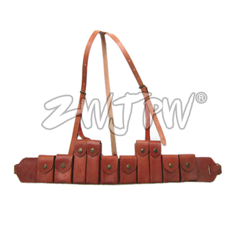 WW2 China Army Leather Hunting Submachine Gun 10 Clips Folder Pouch Bag Package CN/104125