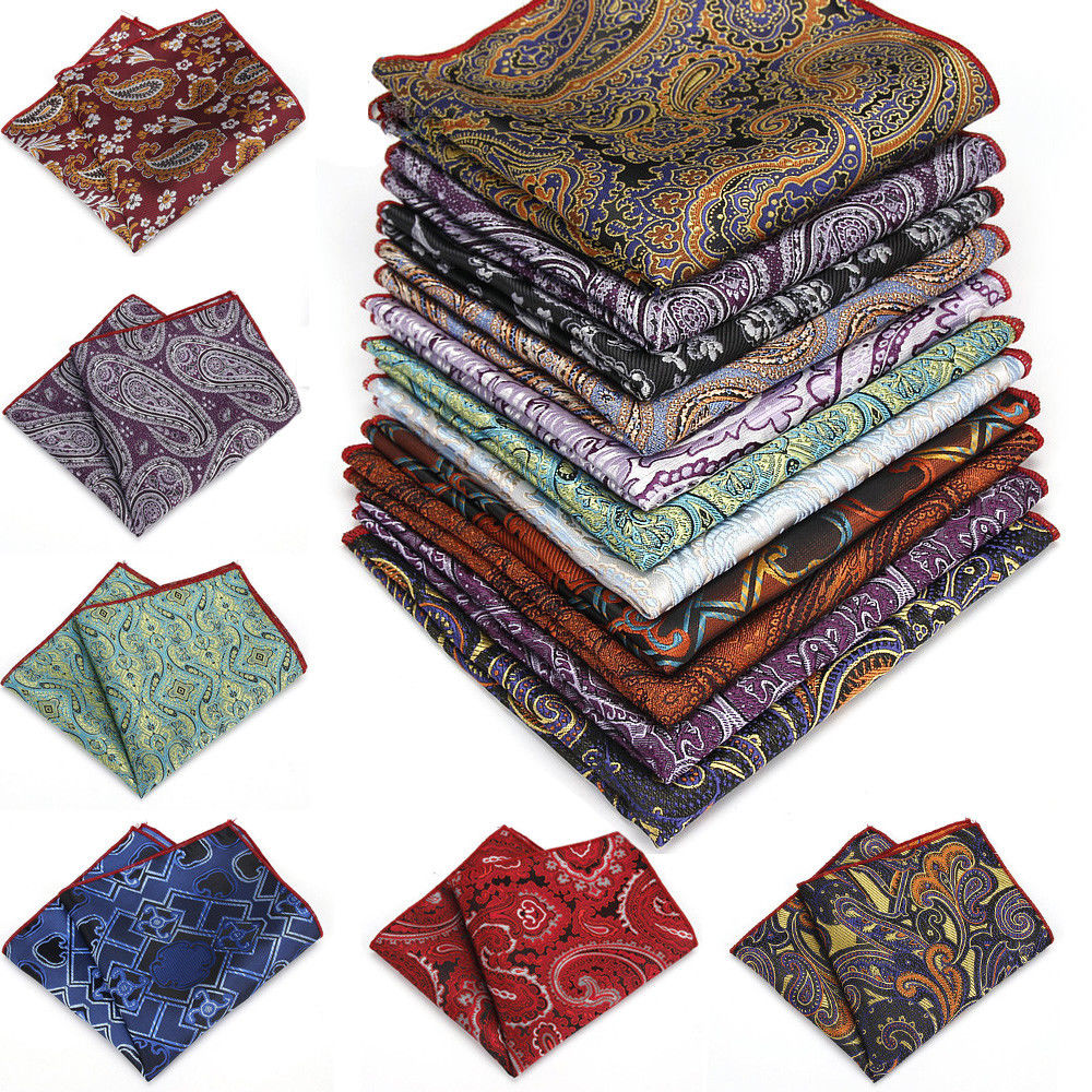 Men Paisley Pocket Square Handkerchief Wedding Party Hanky Handmade YFTIE0002