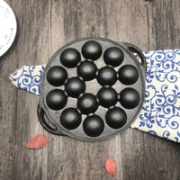 Cast iron pot thick octopus balls hot plate cast iron pot uncoated non stick household octopus cooking machine tool 038