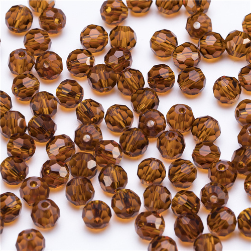 3, 4, 6, 8 мм разноцветные Круглые Стеклянные бусины для изготовления ювелирных изделий, аксессуары для рукоделия, Круглые граненые разделительные бусины, Z105 - Цвет: Z116 brown
