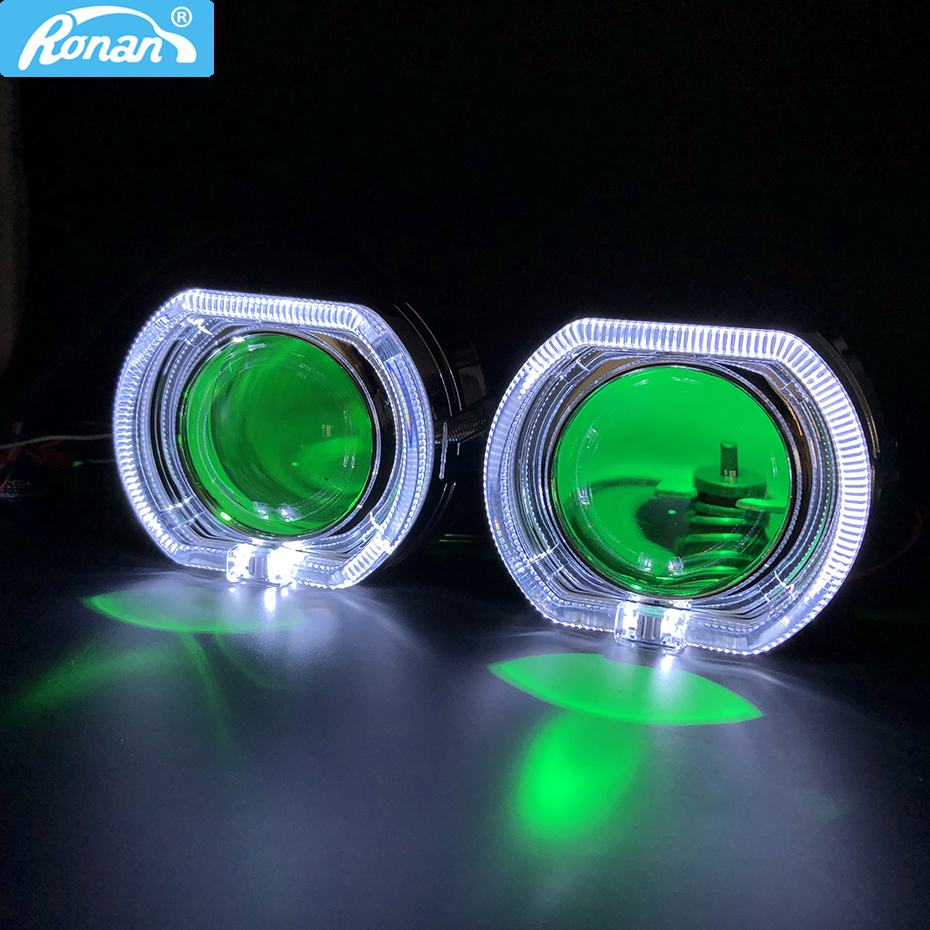 RONAN car styling 2.5'' Bi-xenon Projector H1 <font><b>Lens</b></font> <font><b>Square</b></font> LED halo with Angel Eyes shrouds for BWM H1 H4 H7 Car <font><b>Headlight</b></font> image