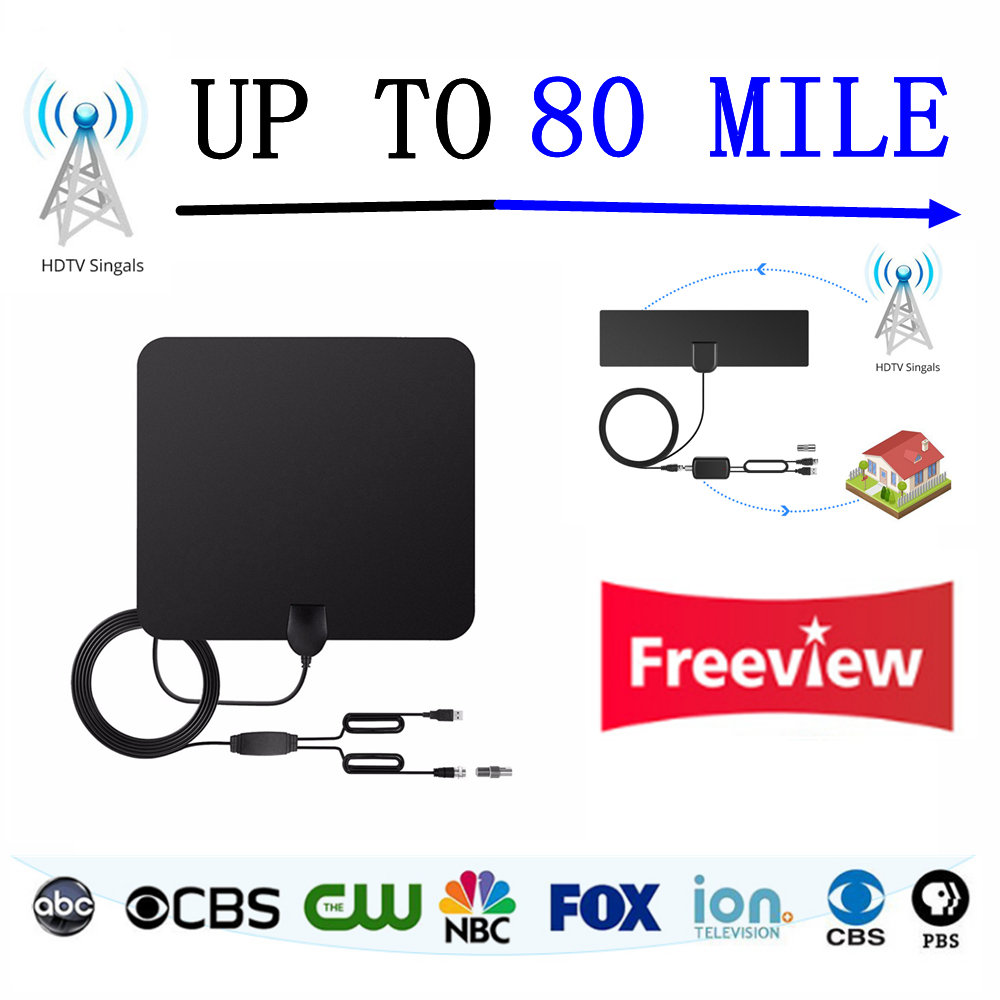 80 Miles Long Range TV Antenna Indoor HD Digital With Detachable Amplified HDTV Signal Booster Version-10 ft Coax Cable TV Stick