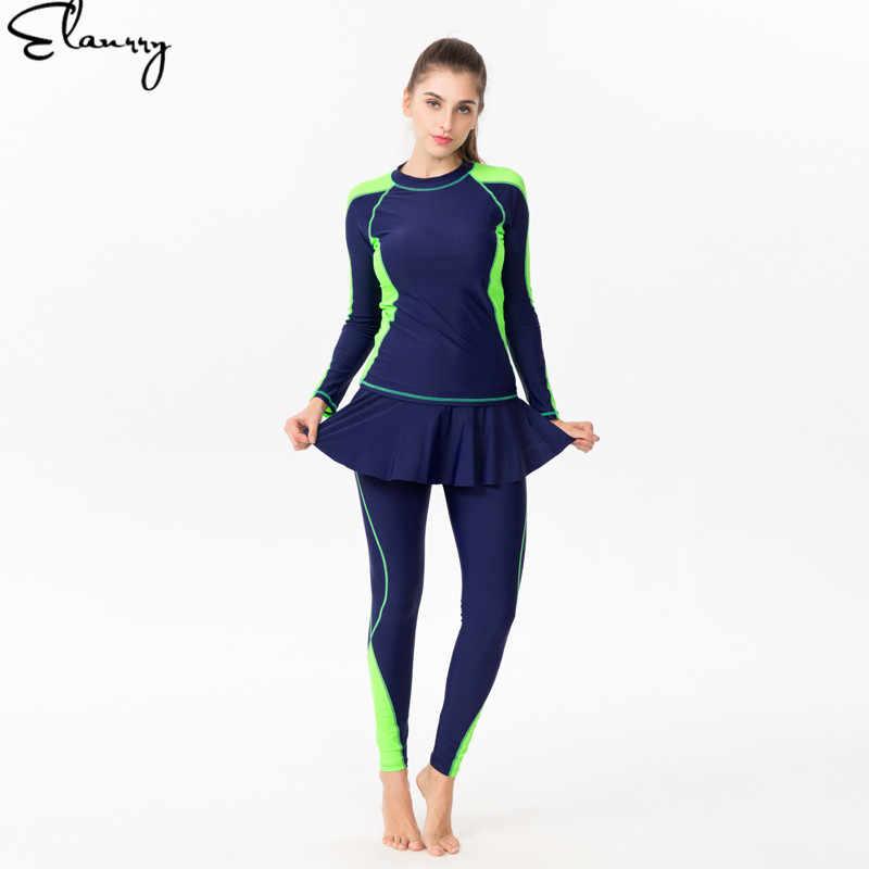 2019 новые для женщин купальники для малышек плюс размеры девушка сёрфинг костюмы летние спортивный купальник рашгарды 2 шт. одежда с длинным рукаво