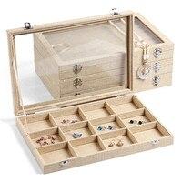 High grade Linen 12 Grid Jewelry Plate Jewelry Boxes Rings Jade Necklace Pendant Earrings storage box Shelf 35*24CM