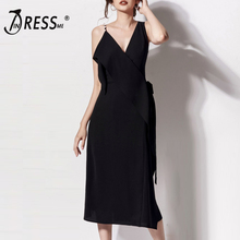 INDRESSME 2019 New Women Sexy Spaghetti Strap Pearl Sleeveless Belt Bodycon Backless Dress Summer Party Club Vestidos