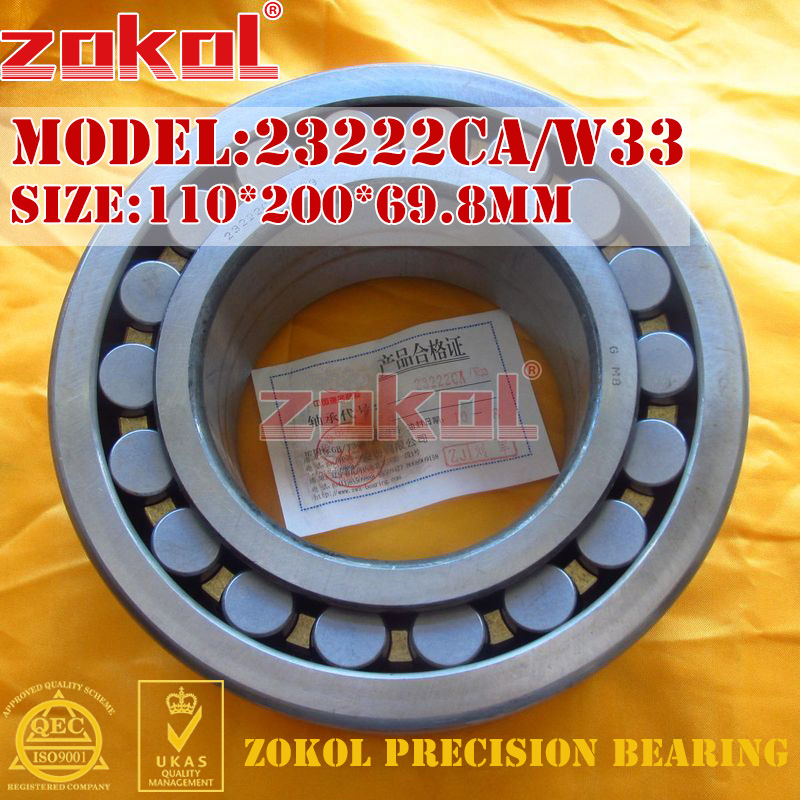 ZOKOL bearing 23222CA W33 Spherical Roller bearing 3053222HK self-aligning roller bearing 110*200*69.8mm mochu 22213 22213ca 22213ca w33 65x120x31 53513 53513hk spherical roller bearings self aligning cylindrical bore