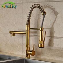 Новый Дизайн золото Pull Down опрыскиватель кухня смеситель кран Палуба Гора смесителя