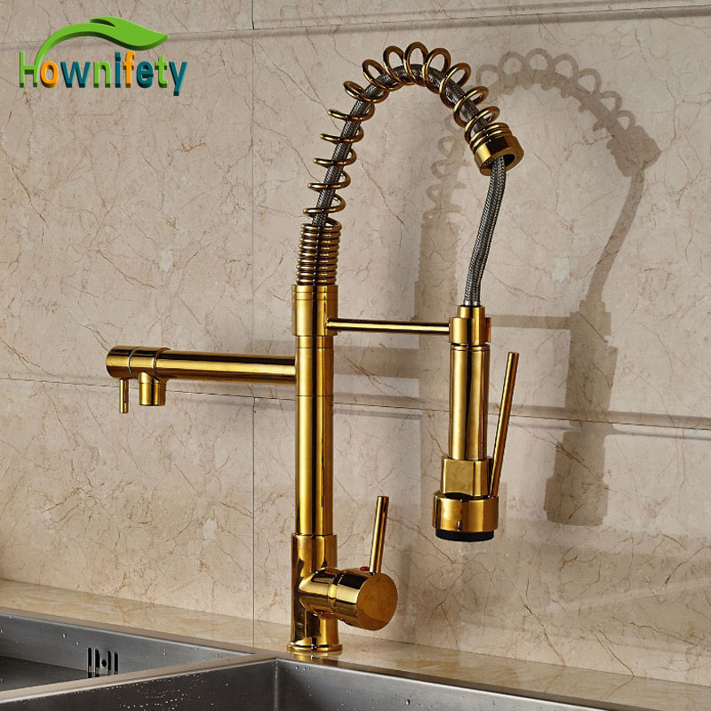 New Design Gold Finish Pull Down Sprayer Kitchen Faucet Mixer Faucet Deck Mount Mixer Tap