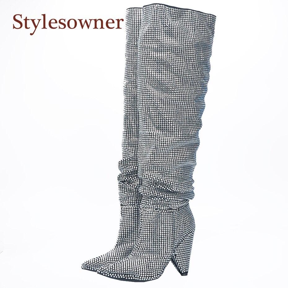 Stylesowner 2017 новые роскошные хрустальные Для женщин с острым носком сапоги до колена Сексуальная коренастый пятки Сапоги и ботинки для девочек