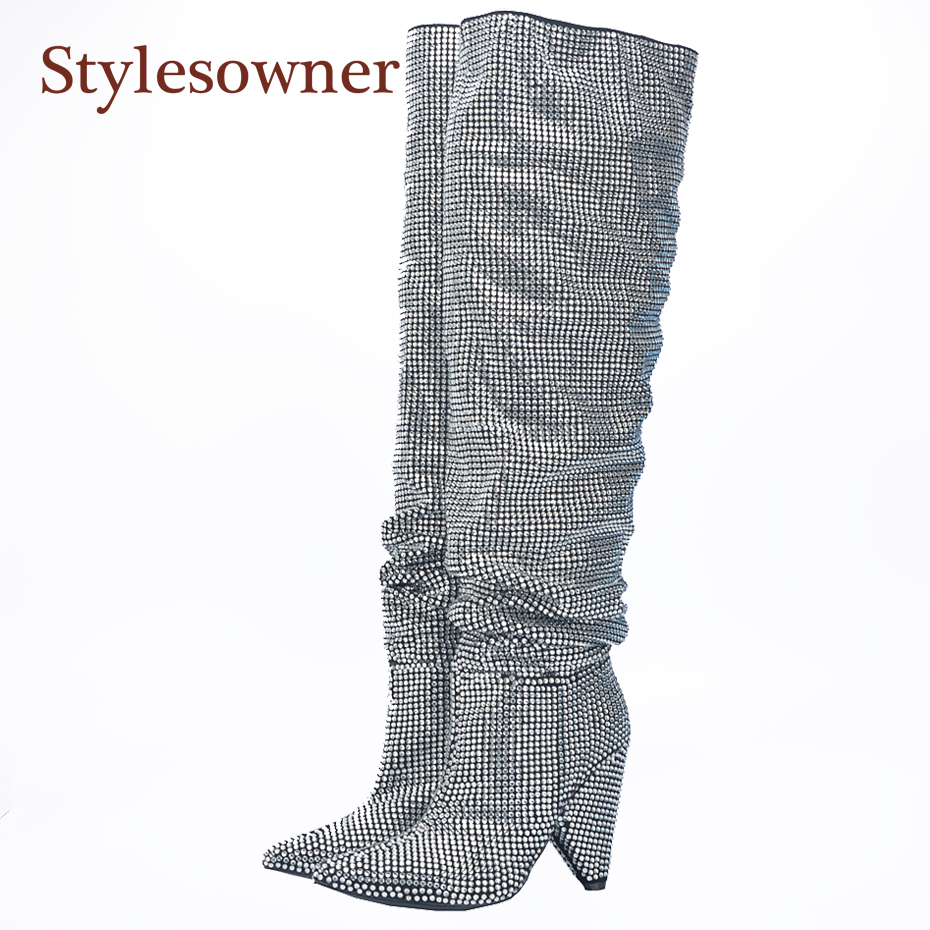 Stylesowner 2017 Newest Luxury Crystal Women Pointy Toe Knee High Boots Sexy Chunky Heel Boots Ladies Knight Boots real photo 2018 new suede leather patchwork women flodover mid calf boots sexy pointy toe ladies blade heel boots zipper knight boots