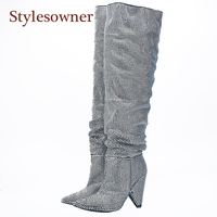 Stylesowner 2017 Newest Luxury Crystal Women Pointy Toe Knee High Boots Sexy Chunky Heel Boots Ladies Knight Boots real photo