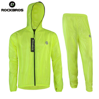 ROCKBROS Women Men Raincoat Jacket Pants Set High Quality Breathable Light Reflective Bike Raincoat Long Sleeve
