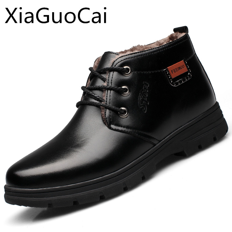 Winter Men Leather Winter Boots Soft Bottom Male Snow Boots Old Age Antiskid Velvet Daddy Shoes Old Warm Men's Boots