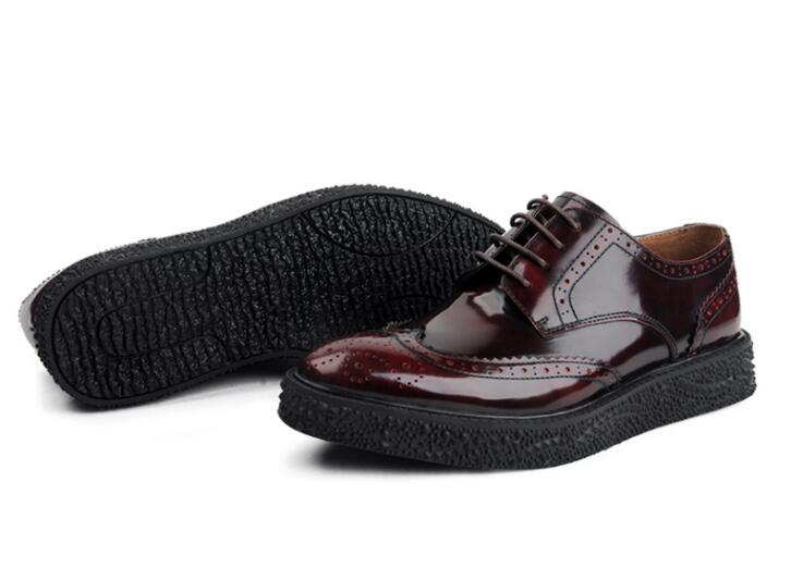 Genuine Patent Leather Men's Brogue Runway Lace-Up Platform Height Increasing Men Carved Sole Gradient Smart Casual Dress Shoes