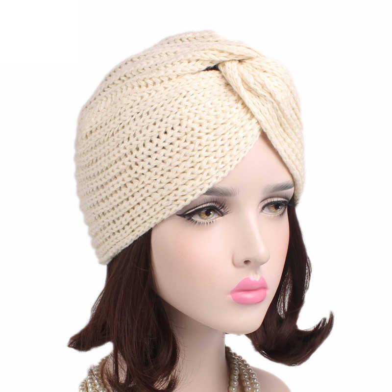 1dfc9439801b9 ... Fashion Bohemian Hat Cap Winter Hats for Women Beanie Winter Warm Knit  Turban Cross Twist Arab ...