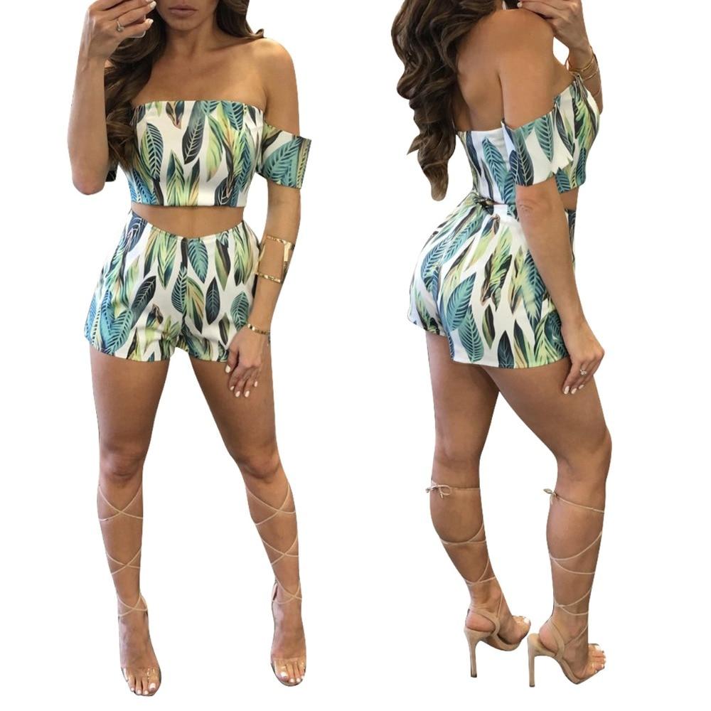 Summer Leaf Print Slash Neck Shorts Rompers Women Hollow Out Crop Top Short Pant 2 Piece Set Skinny Jumpsuit Macacao Feminino