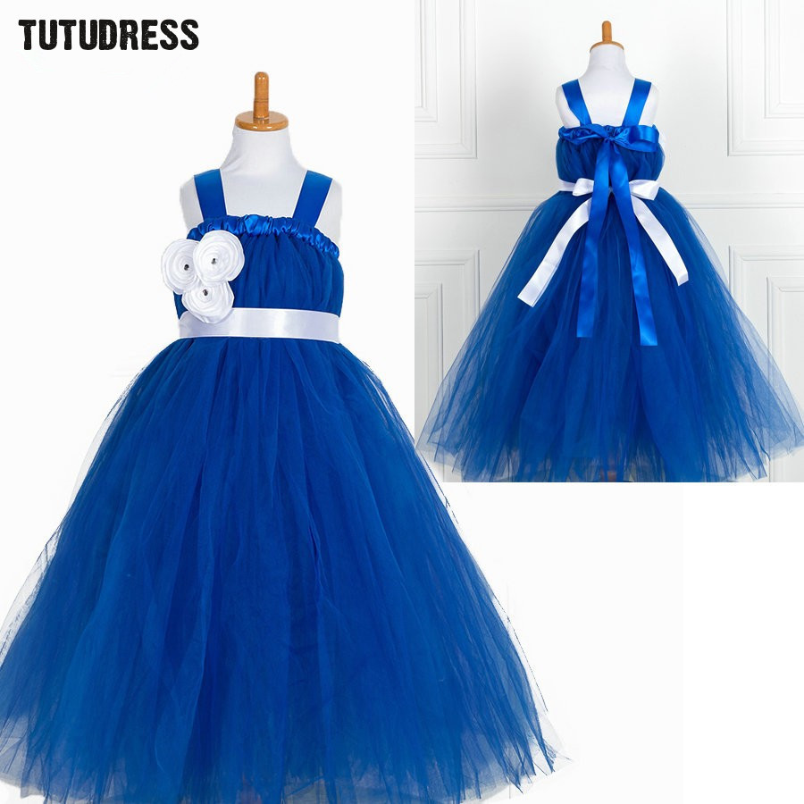 Online buy wholesale kids blue bridesmaid dress from china kids fluffy tutu dress baby girls tulle flower girl dresses for party wedding children dress blue kids ombrellifo Images