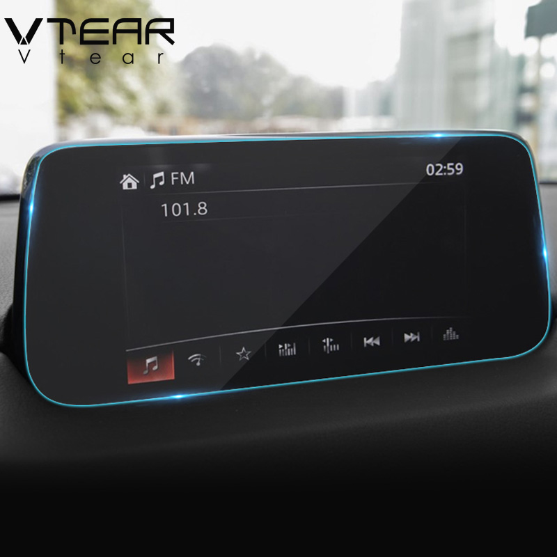 Vtear For Mazda CX-5 CX5 2017 2018 GPS Navigation Screen Steel material Protective Film LCD Screen Film Sticker accessories 8 4 inch gps navigation screen steel protective film for jeep grand cherokee srt compass 2017 2018 control of lcd screen sticker