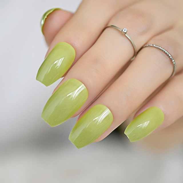 Brilliant Emerald Green Ballerina Nail Art Tips False Fake Coffin Nails Flat Shape Full Cover Beauty
