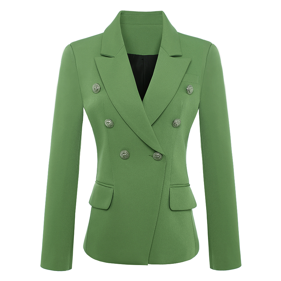 HIGH QUALITY New Fashion 2019 Baroque Designer Blazer Jacket Women's Metal Lion Buttons Double Breasted Blazer Green Size S-XXXL