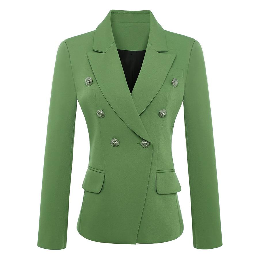 HIGH QUALITY New Fashion 2020 Baroque Designer Blazer Jacket Women's Metal Lion Buttons Double Breasted Blazer Green Size S-XXXL