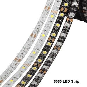 5050 Led الشريط شريط إضاءة بألوان أحمر وأخضر وأزرق للماء 220 V إلى DC 12 V 5 M 300 Led الشريط مرنة قطاع أضواء النيون الشريط الدافئة الأبيض/الأزرق/RGBW