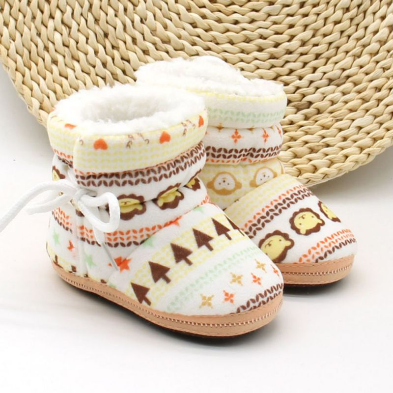 Kids Baby Autumn Winter Warm Fleece Soft Soled Crib Shoes Girls Boys Toddlers Snow Boots Sneakers