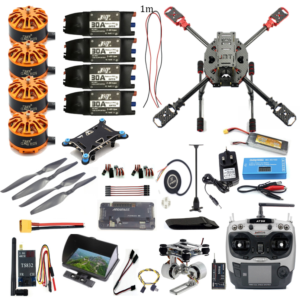 Full Set FPV DIY 2.4GHz 4-Aixs RC Helicopter APM2.8 Flight Controller M7N GPS J630 Carbon Fiber Frame Props with AT9S TX Drone original naza gps for naza m v2 flight controller with antenna stand holder free shipping