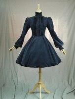 Hepburn rocznika Pałac Lolita Antumn linii pełna rękaw latarnia rękaw stań neck panie sukienka sukienka granatowy Różowy dym