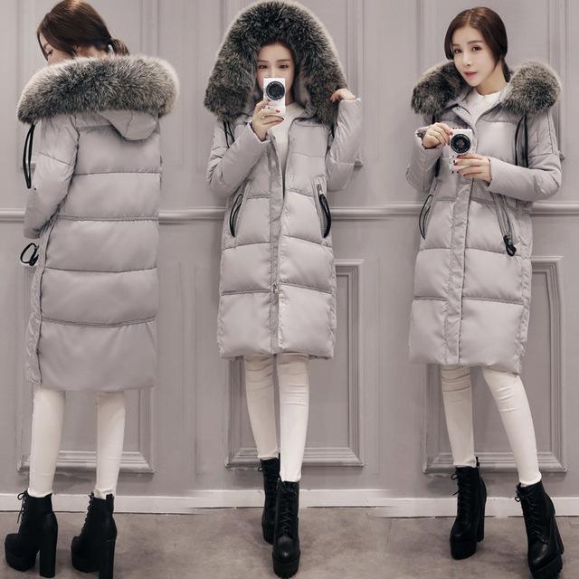 S M L XL 2XL Tamaño 100% Real Pato Abajo abrigo de Invierno Chaquetas de las mujeres de Moda Del Estilo de Corea de Largo Hasta La Rodilla Engrosamiento de ropa de Abrigo Abrigos Negro gris