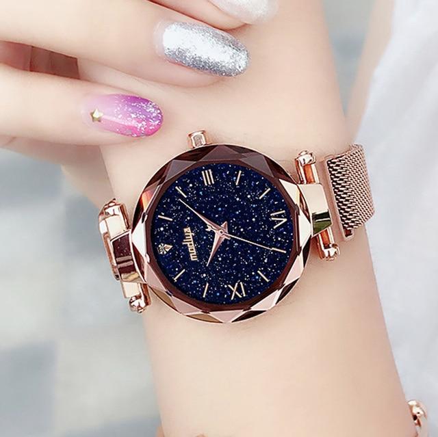 יוקרה נשים שעונים מגנטי שמי זרועי הכוכבים נשי שעון קוורץ שעוני יד אופנה גבירותיי שעון יד reloj mujer relogio feminino