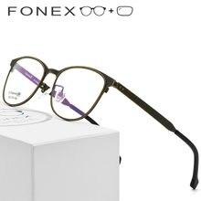 2c7574c5ee B de titanio puro gafas hombres Retro gafas Vintage redondo miopía marco  óptico de gafas graduadas con lente de 7706