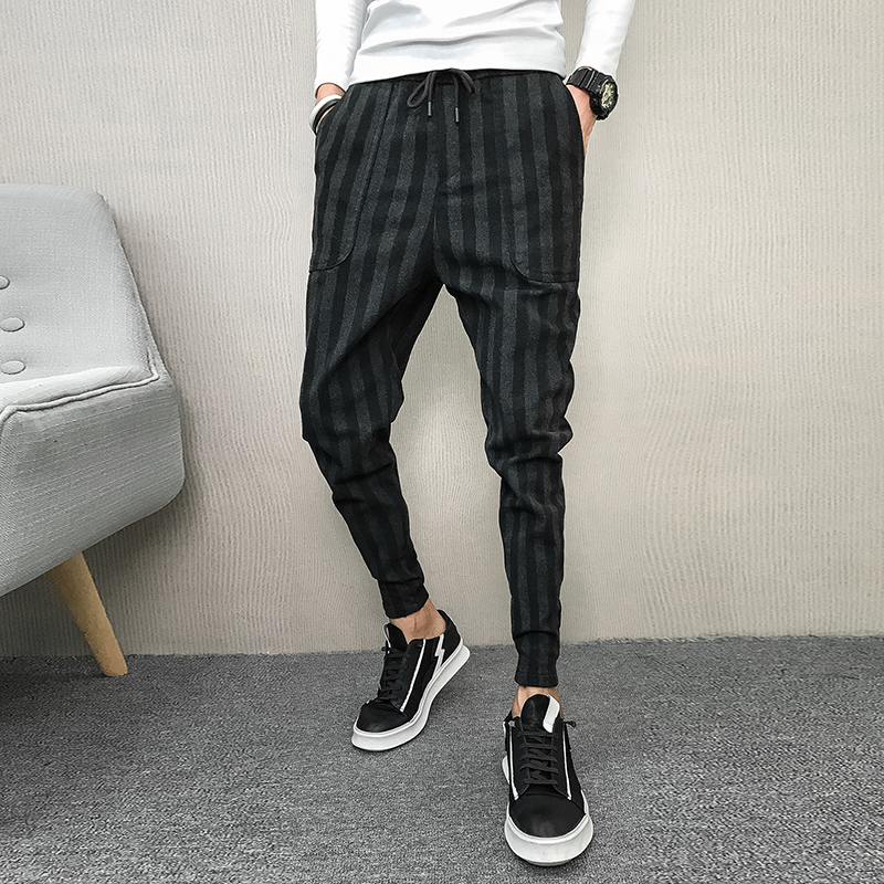 Trousers Harem-Pants Mens Joggers Thick Loose Striped Quality Winter Plus-Size Casual